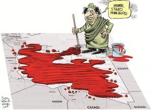 荒れるカダフィ政権