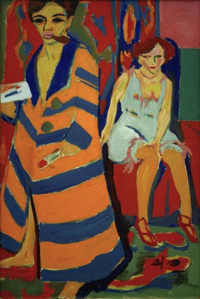 Ernst Ludwig Kirchner / Selbstbildnis - Kirchner / Self-portrait with Model - Kirchner / Autoportrait avec modele.