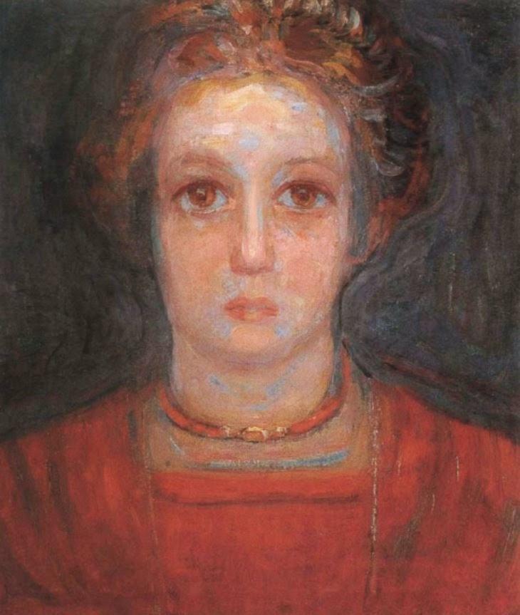 赤いドレスの少女の像