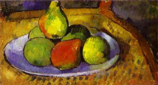 椅子の上の梨