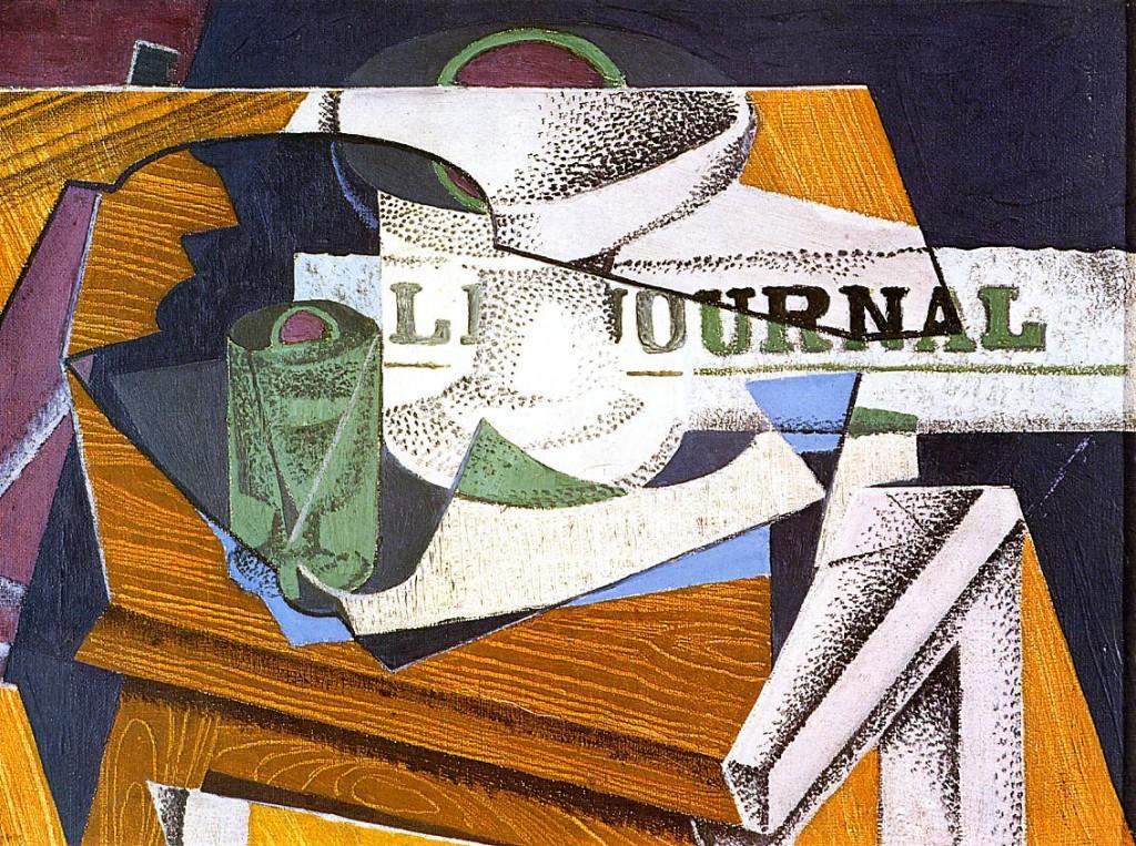 果物皿、本、新聞