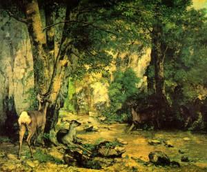 プレジール・フォンテーヌの小川にある鹿のかくれ場