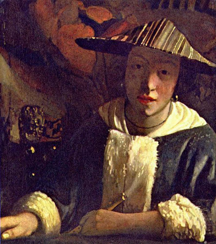 フルートを持つ女