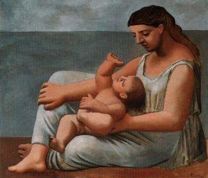 海辺の母と子