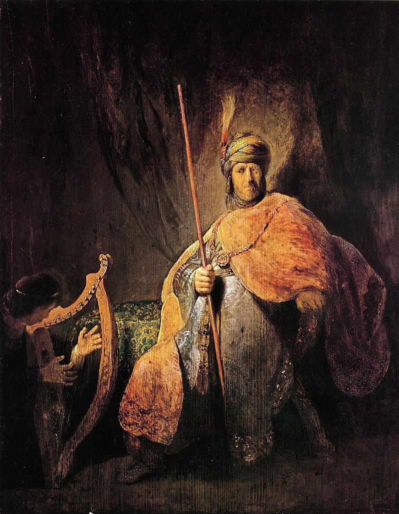 サウル王のために竪琴を奏でるダビデ