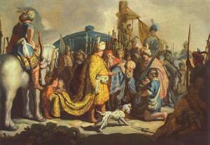 サウルの前でゴリアテの首を持つダビデ