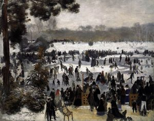 ブーローニュの森でスケートをする人々