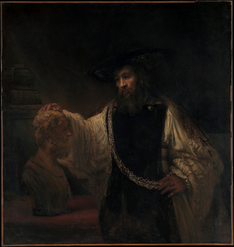 ホメロスの胸像を見つめるアリストテレス