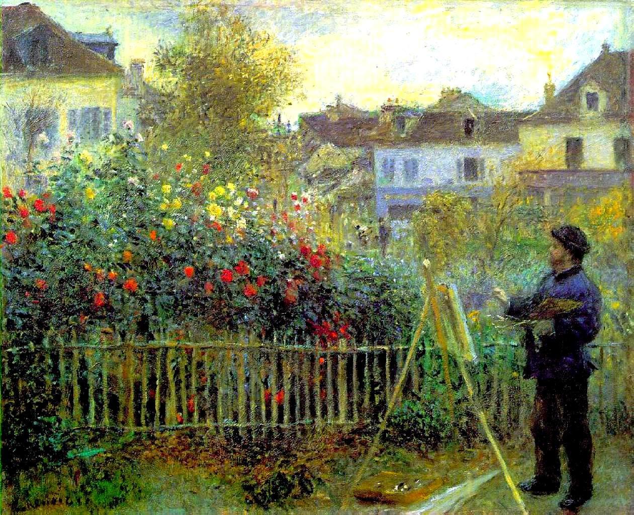 アルジャントゥイユの庭で制作中のモネ