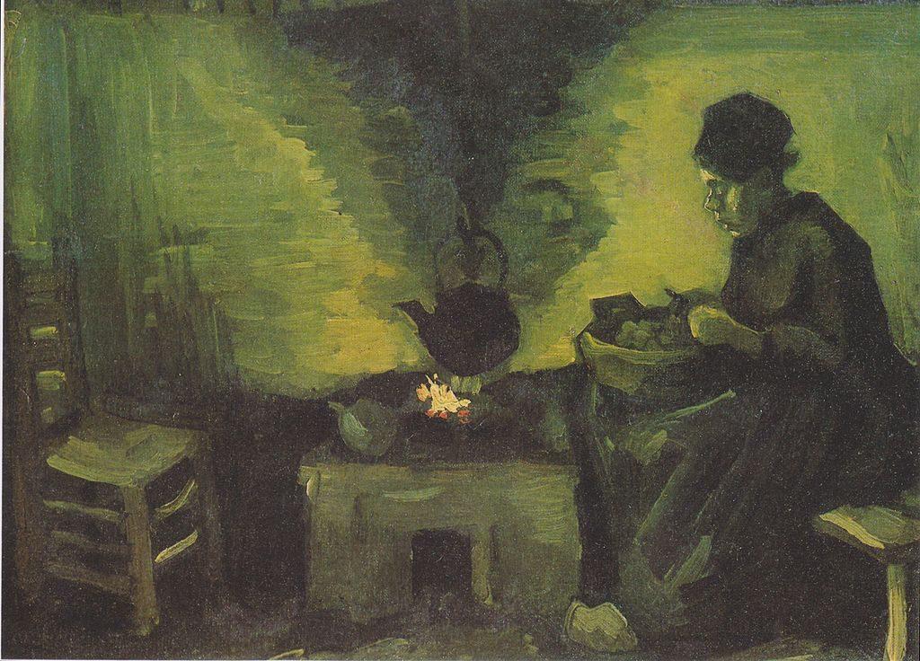 暖炉の側の農婦