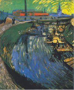 洗濯する女性のいる運河