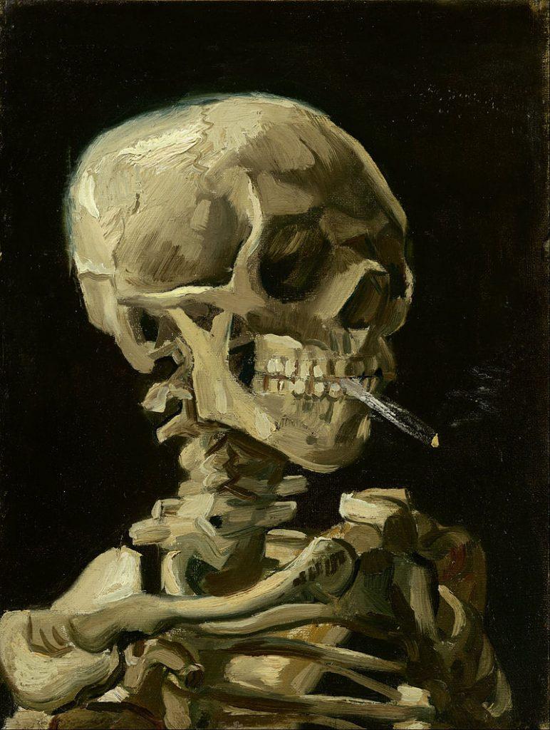 火のついた煙草をくわえた骸骨