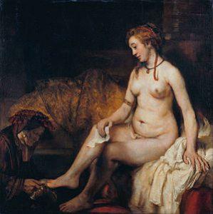 ダビデ王の手紙を手にしたバテシバの水浴