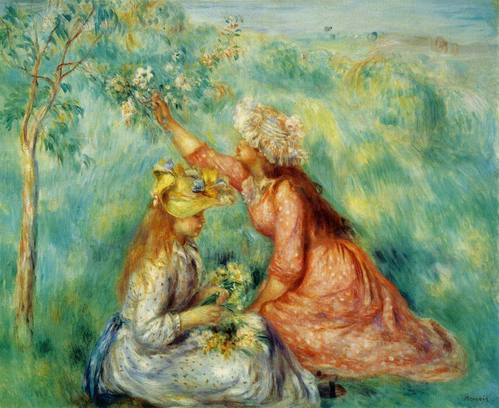 草原で花をつむ少女たち