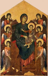 六人の天使に囲まれた荘厳の聖母