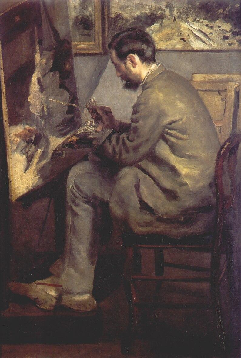 イーゼルで絵を描くフレデリック・バジール