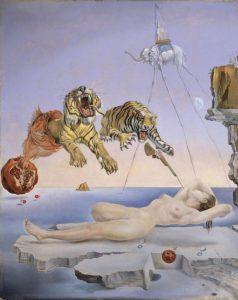 目覚めの一瞬前に柘榴の周りを蜜蜂が飛びまわったことによって引き起こされた夢
