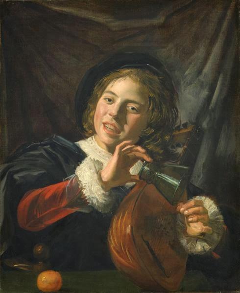 リュートを弾く少年