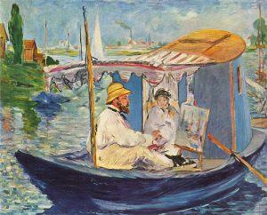 アトリエ舟で描くモネ