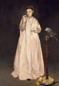 女と鸚鵡(1866年の若い女)