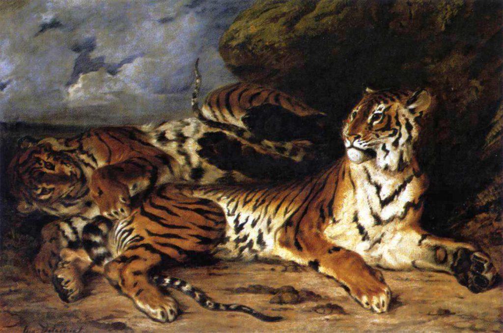 母虎と戯れる子虎