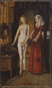 水浴びする女性