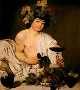 CARAVAGGIO (b. 1571, Caravaggio, d. 1610, Porto Ercole)  Bacchus c. 1596 Oil on canvas, 95 x 85 cm Galleria degli Uffizi, Florence  In order to understand the historical position of Caravaggio's art, we have to be aware of his peerless and revolutionary handling of subject matter. This is true not only of his religious themes, but also of his secular themes. His Bacchus no longer appears to us like an ancient god, or the Olympian vision of the High Renaissance and Mannerism. Instead, Caravaggio paints a rather vulgar and effeminately preened youth, who turns his plump face towards us and offers us wine from a goblet held by pertly cocked fingers with grimy nails. This is not Bacchus himself, but some perfectly ordinary individual dressed up as Bacchus, who looks at us rather wearily and yet alertly.  On the one hand, by turning this heathen figure into a somewhat ambiguous purveyor of pleasures, Caravaggio is certainly the great realist he is always claimed to be. On the other hand, however, the sensual lyricism of his painting is so overwhelming that any suspicion of caricature or travesty would be inappropriate.    Suggested listening (streaming mp3, 2 minutes):Franz Schubert: Drinking song from the 16th century D 847, quartet        --- Keywords: --------------  Author: CARAVAGGIO Title: Bacchus Time-line: 1551-1600 School: Italian Form: painting Type: mythological
