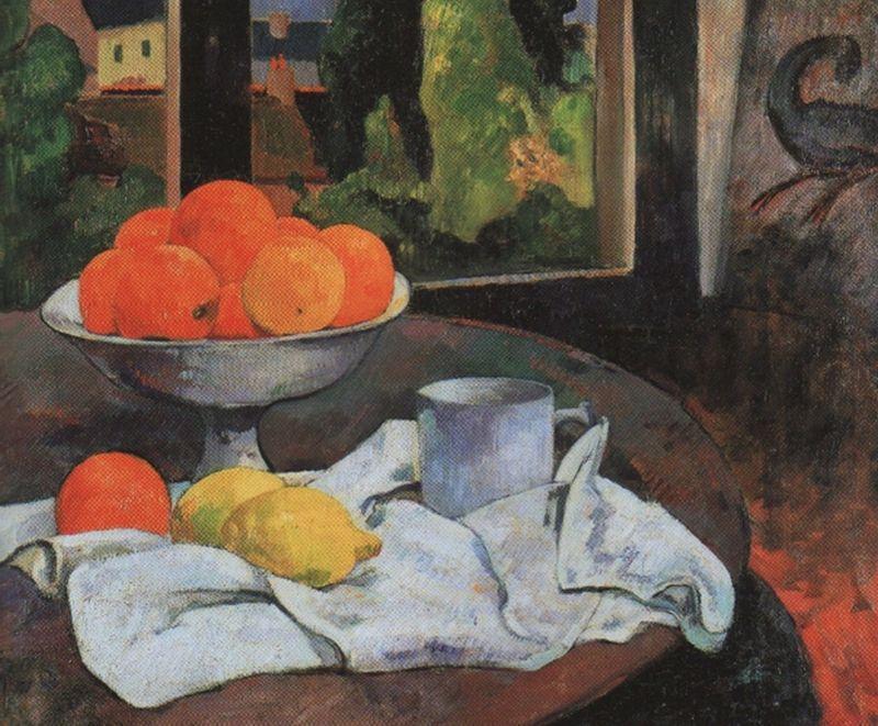 果物籠とレモンのある静物