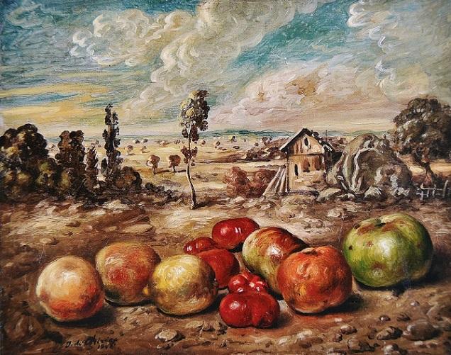 田園風景のなかの果物
