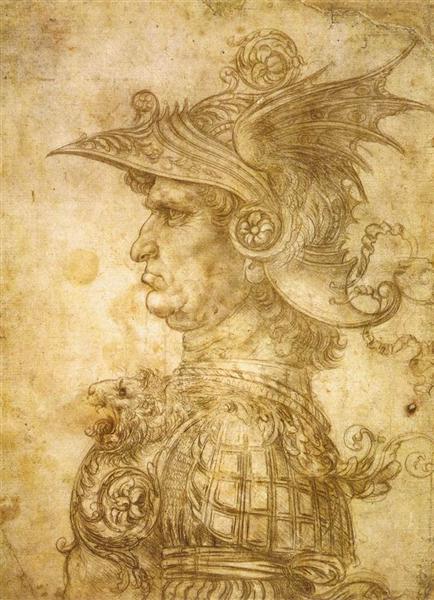 ヘルメットをかぶった兵士の横顔の素描
