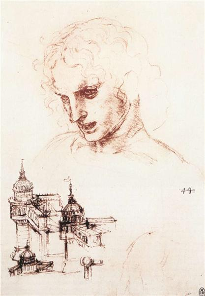 使徒の頭部と建築物の素描