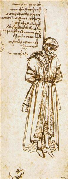 絞首刑にされたベルナルド・ディ・バロンチェッリの素描