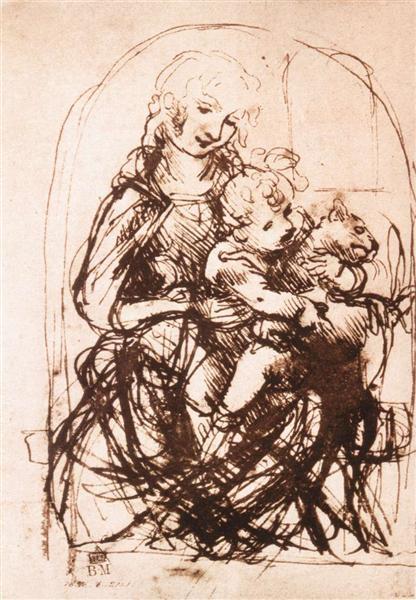 猫のいる聖母子の素描