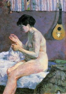 裸婦習作(縫い物をするスザンヌ)