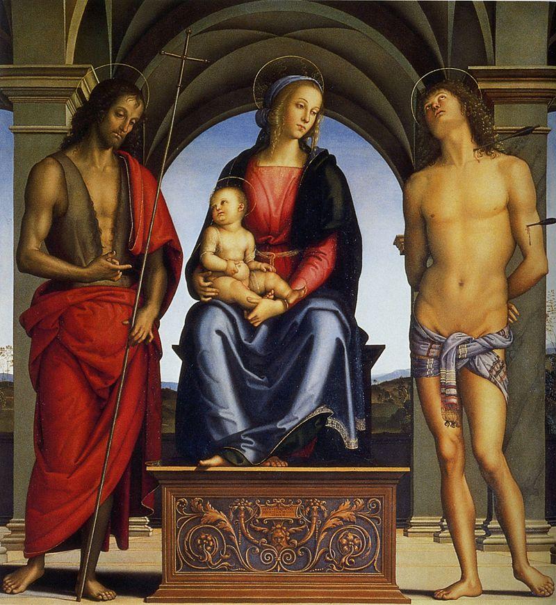 聖母子とバプテスマのヨハネ、聖セバスティアヌス