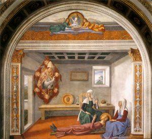 聖女フィーナに死の告知をする大聖グレゴリウス