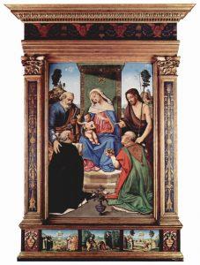 王座に就く聖母子と聖ペトロ、洗礼者ヨハネ、聖ドミニコとバリの聖ニコラオス