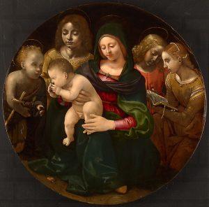 聖母子と、幼い洗礼者聖ヨハネ、聖セシリア、と二人の天使