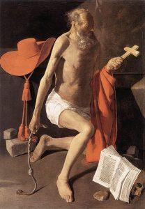 枢機卿帽のある聖ヒエロニムス