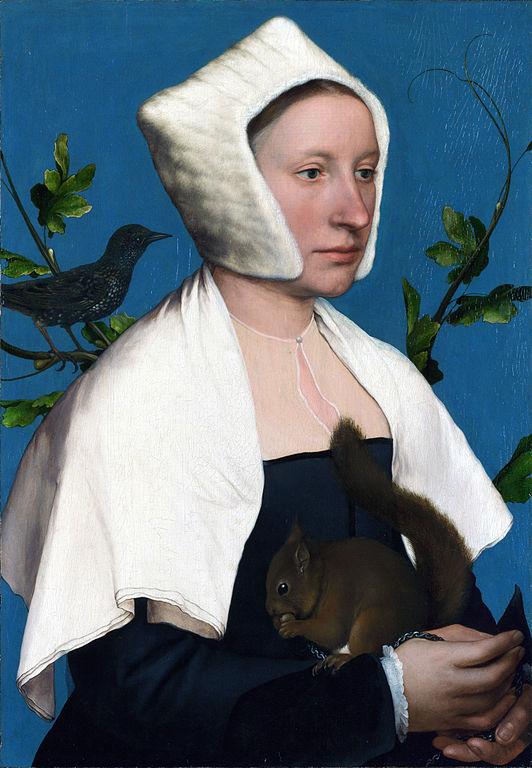 リスとムクドリと婦人の肖像