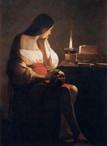 聖なる炎の前のマグダラのマリア(悔悛するマグダラのマリア)