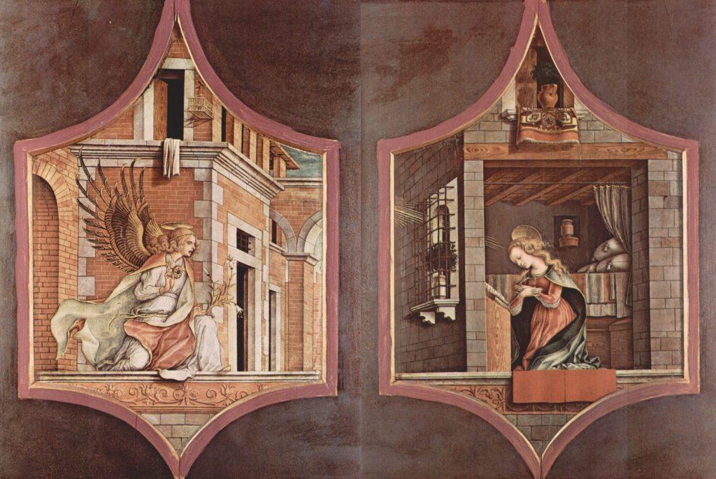 お告げを受ける乙女マリア、受胎告知する大天使ガブリエル