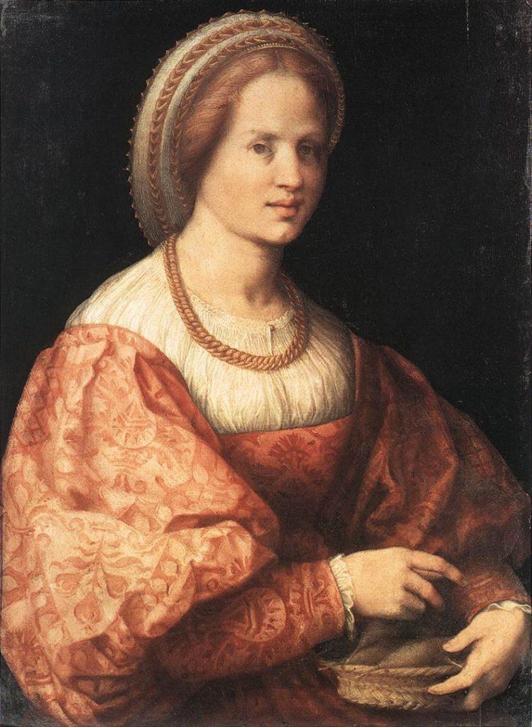かごに入れた紡錘を持つ婦人