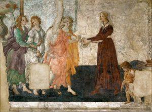 若い女性に婚資を贈るヴィーナスと三美神