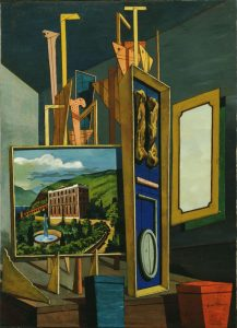 "Giorgio de Chirico. (Italian, born Greece. 1888-1978). Great Metaphysical Interior. Ferrara, April-August 1917. Oil on canvas, 37 3/4 x 27 3/4"" (95.9 x 70.5 cm). Gift of James Thrall Soby. © 2008 Artists Rights Society (ARS), New York / SIAE, Rome"