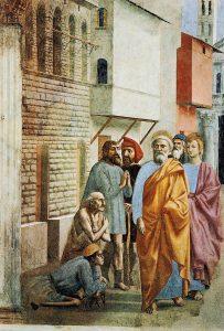 影で病人を癒す聖ペテロ