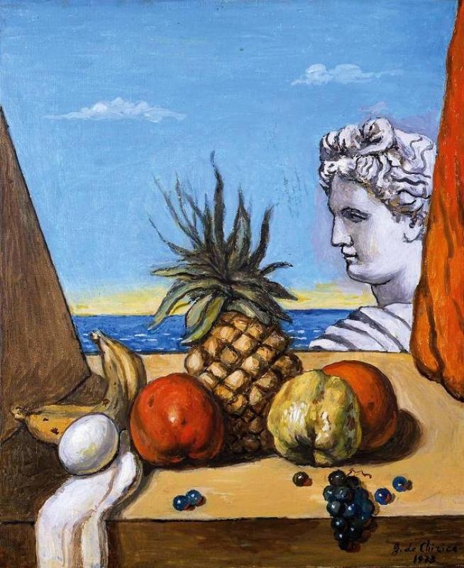 果物とアポロンの胸像
