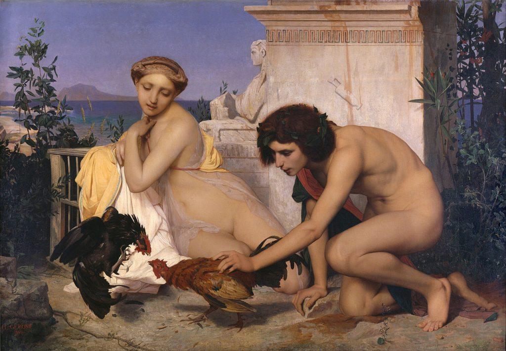 闘鶏をする若いギリシャ人