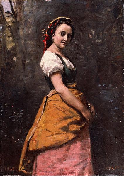 森の中の若い女