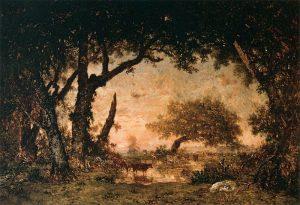フォンテーヌブローの森のはずれ、日没